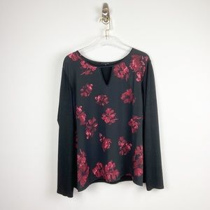 41 Hawthorn Black and Red Floral Knit Top sz XXL
